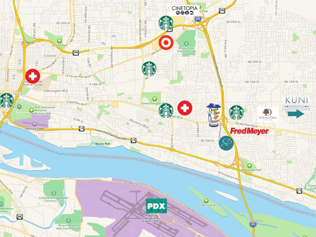 Map of local destinations in surrounding areas including PDX, Dutch Bros., Fred Meyer, Starbucks, and Cinetopia.