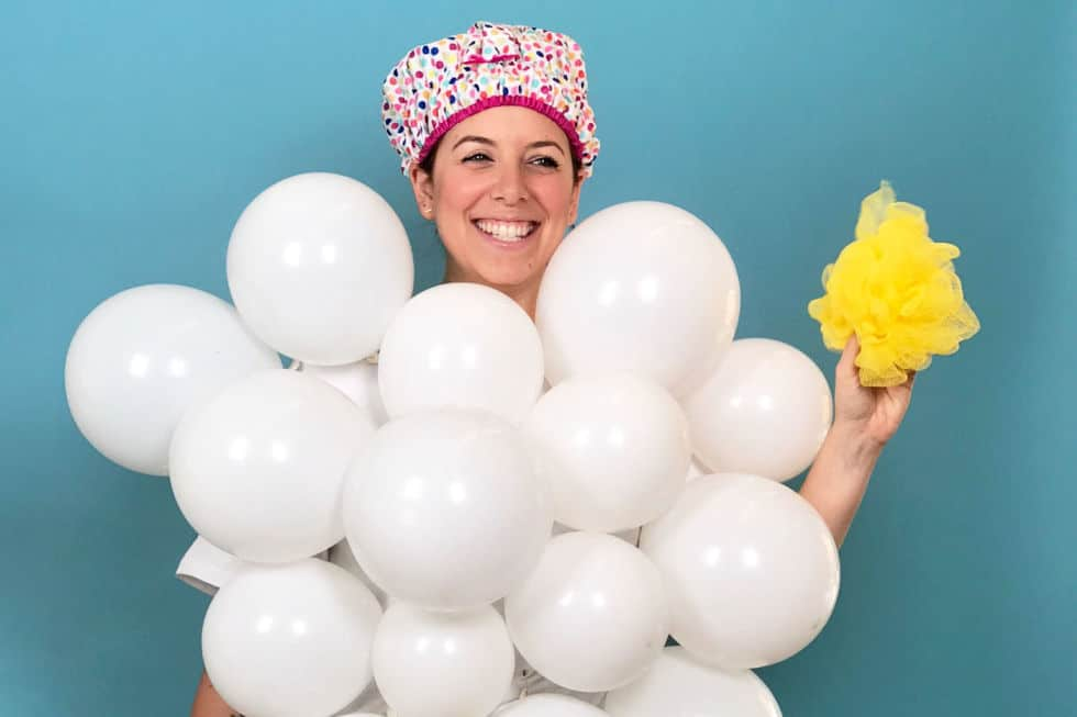 First on our list of no-sew Halloween costumes: a bubble bath.